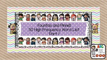 Fountas and Pinnell 50 High Frequency Word List Part 1