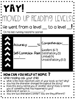 Fontas and Pinnell Reading Update For Parents FREEBIE