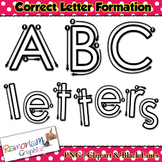 Alphabet tracing letters: correct formation font clip art