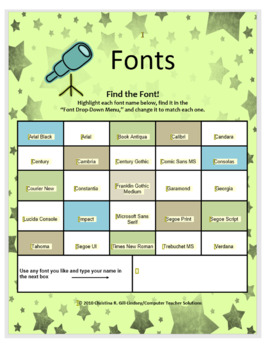 Find the Font! (A Microsoft... by Computer Teacher Solutions ...
