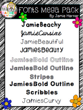 Fonts Mega Pack by Jamie Harnar {Personal and Commercial Use}
