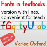 Fonts in textbook, convenient for Alphabet lessons and exe