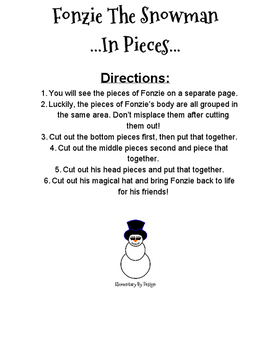 Fonzie The Snowman Story and Activity Questions