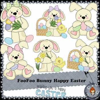FooFoo Bunny Happy Easter clipart