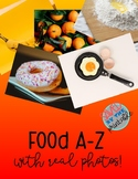 Alphabet A-Z Food Cards with Real Photos Enviornmental Print Rich