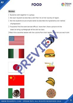 Food A1 Beginner Lesson Plan For ESL