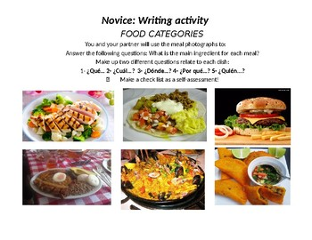 Spanish Food Activities for Novice and Native students