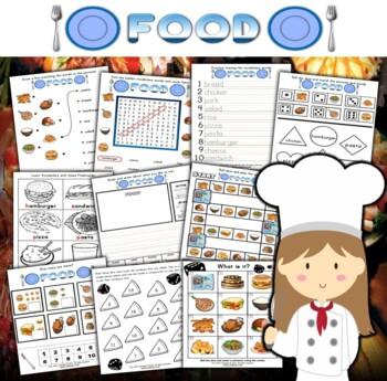 Food Activity Set / Worksheets + Flashcards