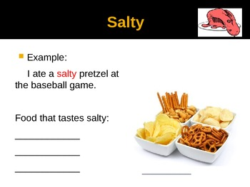 Food Adjectives Powerpoint  Notes Pages