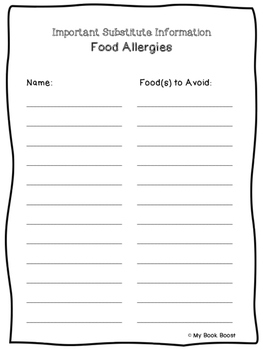 Food Allergies Form For Sub Tub