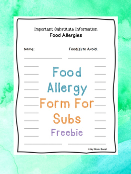 Food Allergies Form For Sub Tub