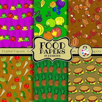 Food Background Pattern & Digital Papers Clip Art Set