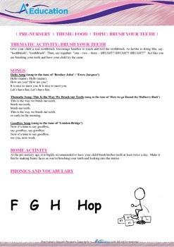Food - Brush Your Teeth : Letter H : Hop - Pre-Nursery (1 year old)