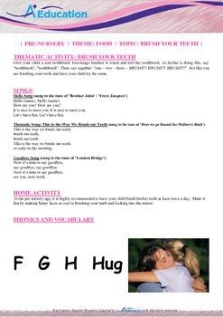 Food - Brush Your Teeth : Letter H : Hug - Pre-Nursery (1 year old)