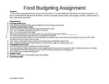 Food Budgeting Assignment- Life Planning