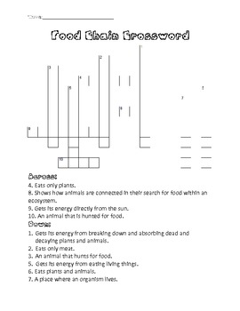 Crossword Puzzles moreover  also  together with  also What is Biodiversity Game   The Web of Life additionally Vocabulary Activities furthermore Food Chain Crossword Puzzle by Over the Rainbow   TpT moreover free printable cooking worksheets – jqam info in addition Free Worksheets Liry   Download and Print Worksheets   Free on as well Foods Activities  Worksheets  Printables  and Lesson Plans further A Food Chain Puzzle   TeacherVision together with 87  Food Crossword Puzzle With Answers   Crossword Puzzle About Food moreover Halloween Crossword Puzzle Free Printable likewise Food Chains Word Search Puzzle by Puzzles to Print   TpT in addition Food Web And Food Chain Crossword Puzzle Teaching Resources moreover FOOD CHAINS  TROPHIC LEVELS and ECOLOGICAL PYRAMIDS. on food chain crossword puzzle worksheet