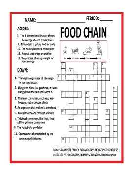 Food Chain Crossword Puzzles
