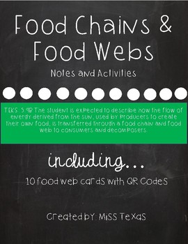 Food Chain & Food Web Notes and Activities {includes QR Codes}