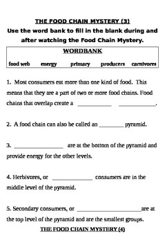"""Food Chain Mystery"" fill in the blank notes"