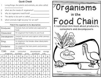 Food Chain Organisms Minibook: Producers, Consumers, Decomposers