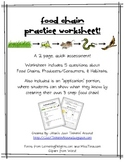 Food Chain Practice Worksheet: 5 Questions and Application Portion!