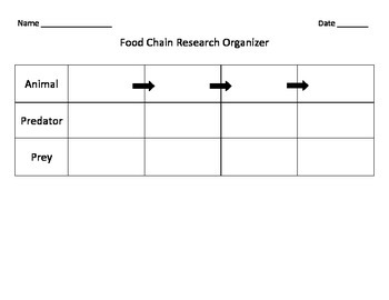 Food Chain Research Organizer