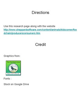 Food Chain Research Sheet