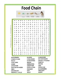 Food Chain or Food Web Word Search or Wordsearch