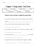 Food Chain worksheet