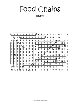 Food Chains Word Search Puzzle