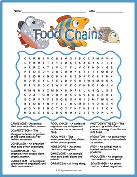 food chains word search puzzle by puzzles to print tpt