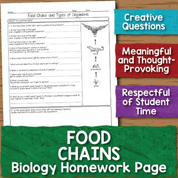 Food Chains Biology Homework Worksheet