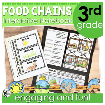 Food Chains Interactive Notebook, Assessment, and Folded Booklet Project
