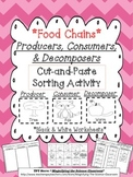 Food Chains Producers, Consumers, and Decomposers Cut and Paste Sorting Activity
