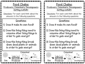Food Chains Sorting Activity Game about Producers, Consumers, Decomposer CCSS