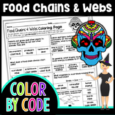FOOD CHAINS & WEBS SCIENCE COLOR BY NUMBER, QUIZ