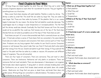 Food Chains and Food Webs {Differentiated Close Reading Passages & Questions}