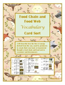 Food Chains and Food Webs Vocabulary Sort- TEKS 5.9B TEKS aligned to STAAR