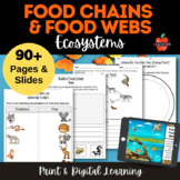 NGSS LS2 Food Chains and Webs: lesson plans, 5Es, workshee