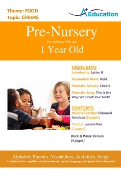 Food - Cheers : Letter H : Hold - Pre-Nursery (1 year old)