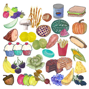 Clip Art - Food - Fruits - Vegetables - Desserts - Pizza - Realistic Style