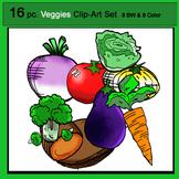 Veggie Clip-Art Set: 8 B&W, 8 Color
