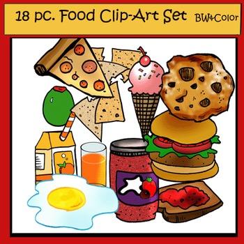 Food Clip-Art Set: 9 B&W, 9 Color