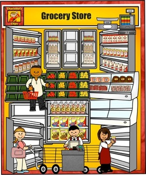 grocery store clip art by charlotte s clips by charlotte s clips rh teacherspayteachers com grocery store items clipart grocery store building clipart