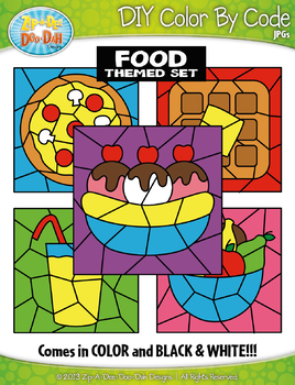 Food Color By Code Clipart {Zip-A-Dee-Doo-Dah Designs}