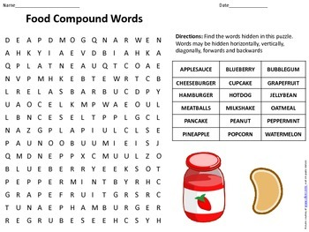 Food Compound Words Word Search w/ Answer Key