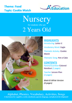 Food - Cookie Match : Letter E : Eagle - Nursery (2 years old)