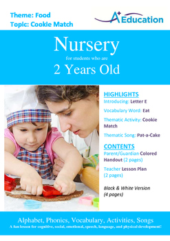 Food - Cookie Match : Letter E : Eat - Nursery (2 years old)