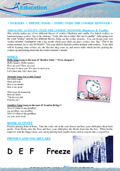 Food - Cookie Monster (Vanilla & Blueberry):Letter F:Freeze - Nursery(2 yrs old)