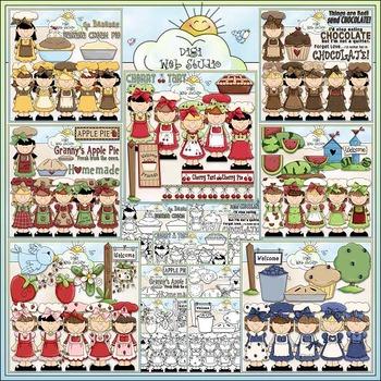 Food Cuties Clip Art Bundle - 7 Clip Art & B&W Sets